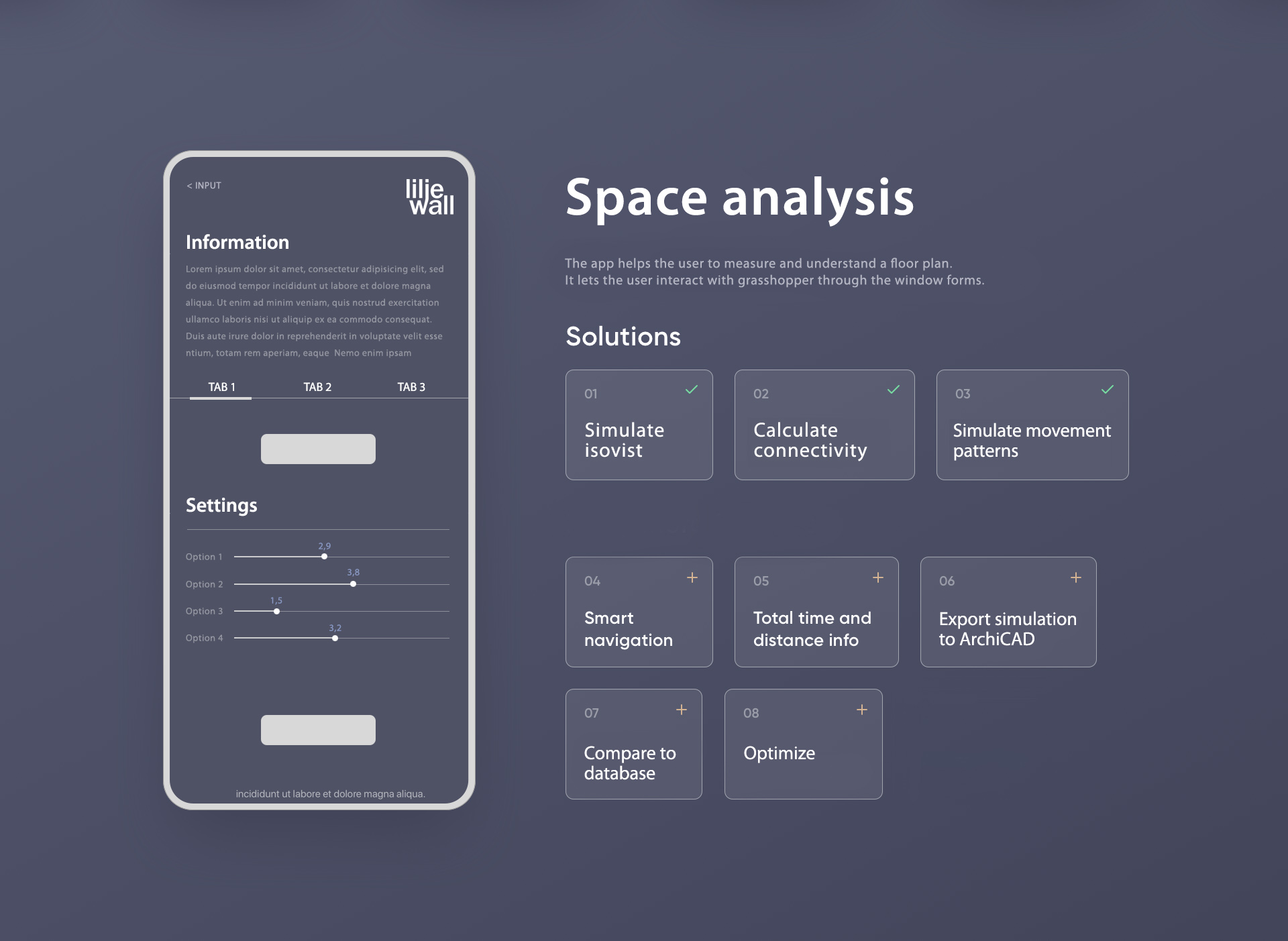 The wireframe sketch with a list of features